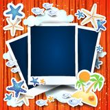 Holidays on the beach, background with blank photos. Illustration Royalty Free Stock Image