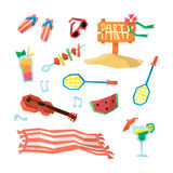 Holidays On The Beach Objects Set vector illustration