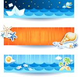 Holidays on the beach, set of banners. Illustration Stock Photo