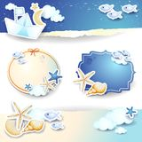 Holidays on the beach, set of paper elements. Illustration Stock Images