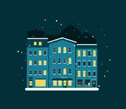 Holidays in a big city, winter night vector illustrtaion eps10 royalty free stock photo