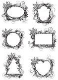 Holidays black and white frames. Set of vector ornate blue frames for christmas card Stock Photos