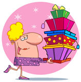 Holidays blond lady shopper Royalty Free Stock Images