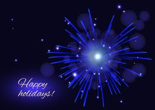 Holidays blue vector fireworks greeting background, copy space. Celebration sparkling blue vector fireworks greeting holidays background, copy space Stock Photos