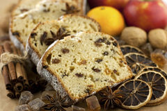 Holidays cake with raisins and nuts, selective focus Stock Photo