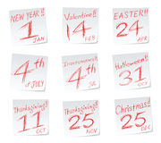 Holidays calendar Stock Photography