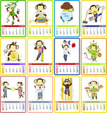 Holidays calendar for 2016  with cute monkey. Holidays calendar for 2016 year. Holiday for each month is illustrated with symbol of 2016 year - cute monkey. Well Royalty Free Stock Photography