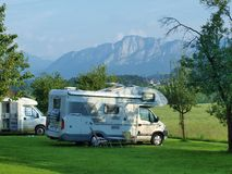 Holidays with campervan in the foothills of the Alps Royalty Free Stock Images