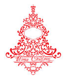 Holidays Card with abstract xmas fir tree - red floral lace Royalty Free Stock Photography