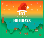 Holidays card. Bright retro holidays card with sea and small buildings Royalty Free Stock Image