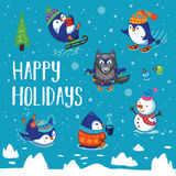 Holidays card with cute cartoon penguins Royalty Free Stock Images