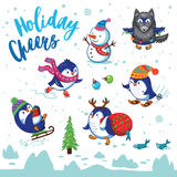 Holidays card with cute cartoon penguins Royalty Free Stock Photo