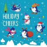 Holidays card with cute cartoon penguins Stock Photography