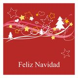 Holidays vector card with espanol wishes: Feliz Navidad. Christmas vector card or invitation for party with Merry Christmas wishes in espanol: Feliz Navidad Royalty Free Stock Image