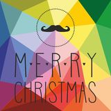 Holidays vector card with mustache and hand drawn Merry Christmas wishes Stock Images