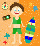 Holidays card with small, smiling, sunbather boy Stock Photos