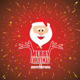 Holidays card vector design with Santa Claus. And words inscription - merry christmas and happy new year Stock Images