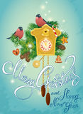 Holidays Card with vintage wooden Cuckoo Clock, xmas gingerbread Stock Images
