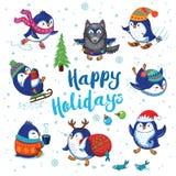Holidays Card With Cute Cartoon Penguins Stock Photos