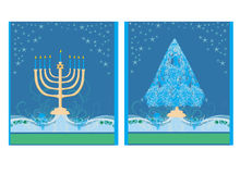 Holidays! cards with Christmas tree and Channuka candles. Pair of Happy Holidays! cards with Christmas tree and Channuka candles royalty free illustration