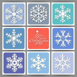 9 Holidays cards. With snowflakes and Christmas greetings stock illustration