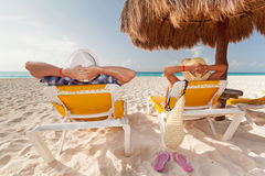 Holidays at Caribbean Sea. Holidays under parasol at Caribbean Sea Royalty Free Stock Image