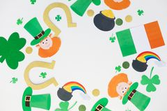 St patricks day decorations on white background. Holidays and celebration concept - st patricks day decorations made of paper on white background Royalty Free Stock Image