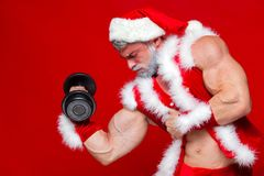 Holidays and celebrations, New year, Christmas, sports, bodybuilding, healthy lifestyle - Muscular handsome sexy Santa. Claus.Isolated on red background Royalty Free Stock Photography