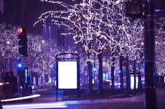Holidays in Chicago. Christmas-Thanksgiving Michigan Ave Lights. Michigan Avenue, Chicago, USA royalty free stock photo