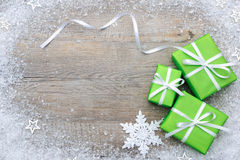 Holidays Christmas New year Gifts Snowflakes Ribbon Bowknot. Is a very useful gift photo Royalty Free Stock Photo