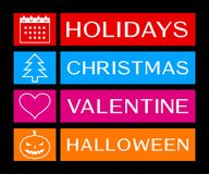Holidays, christmas, valentine and halloween banners Royalty Free Stock Photos