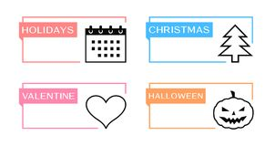 Holidays, christmas, valentine and halloween banners Stock Photos