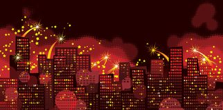 Holidays city. Vector background of Holiday firework in night city Royalty Free Stock Images