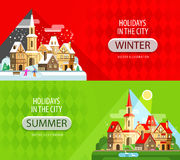 Holidays in the city vector logo design template Royalty Free Stock Photos