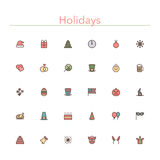 Holidays Colored Line Icons. Holidays and events colored line icons set. Vector illustration Stock Photos