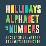 Holidays colorful alphabet and numbers. Holidays alphabet and numbers, colorful art and craft design, cut out by scissors from paper. Vector illustration Stock Photos