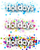 Holidays colour banners set. Vector paper illustration Stock Images