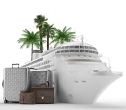 Holidays - Cruise - Honey Moon. A cruise ship with a set of bags with tropical palms. Transatlantic travel for pleasure Stock Photos