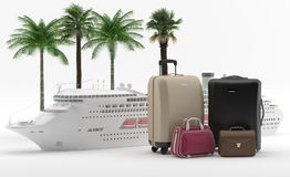 Holidays - Cruise - Honey Moon. A cruise ship with a set of bags with tropical palms. Transatlantic travel for pleasure Stock Photo