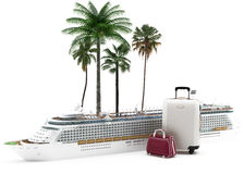 Holidays - Cruise - Honey Moon. A cruise ship with a set of bags with tropical palms. Transatlantic travel for pleasure Stock Images