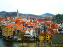 Holidays in Czech Toy town Tilt–shift stock photography