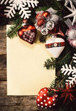 Holidays decoration and blank paper Royalty Free Stock Photo