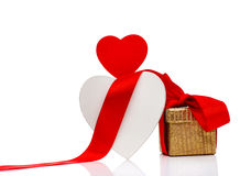 Holidays Decoration With Hearts, Gift Box And Ribbon. Stock Images