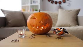 Jack-o-lantern and halloween decorations at home stock video