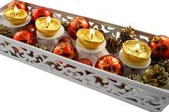 Holidays dekoration. With candels on the white background Stock Image