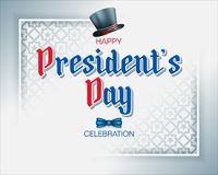 Celebration of Presidents Day. Holidays, design, background with 3d handwriting texts, top hat and bow tie for American President`s Day, event celebration stock illustration