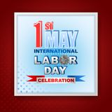 First May International Labor day, celebration. Holidays, design background with 3d texts, hammer and wrench on gear for celebration of First May International Royalty Free Stock Photos