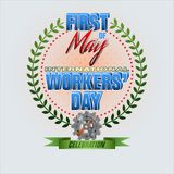 First May, International Workers` day. Holidays, design background with 3d texts, hammer and wrench on gear for celebration of First May International Workers` Stock Photos