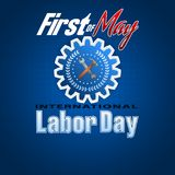 First May, International Labor day. Holidays, design background with 3d texts, hammer and wrench on gear for celebration of First May International Workers` day Stock Photos