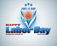First May, Labor day celebration. Holidays, design background with 3d texts, hammer and wrench on mechanism for celebration of First May International Labor day Stock Images